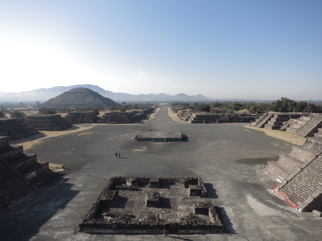 View from Pyramid of the Moon. Pyramid of the Sun is on the left.