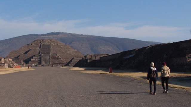 Walking along the Avenue of the Dead towards the Pyramid of the Moon